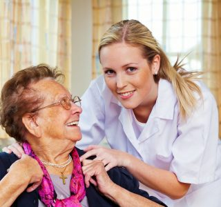 a home care nurse visits a patient